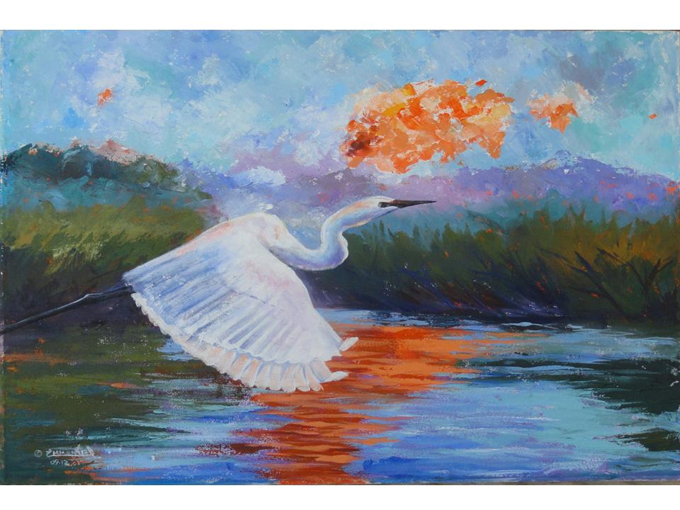 Egret at Dawn